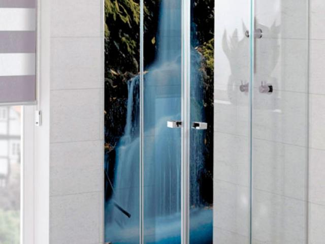 Duschrückwand, Motiv: Wasserfall