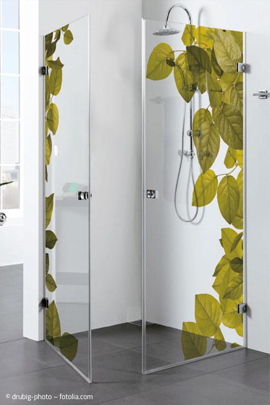 Duschwand, Motiv: Blätter